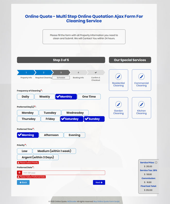 online quote multi step online quotation ajax form for cleaning