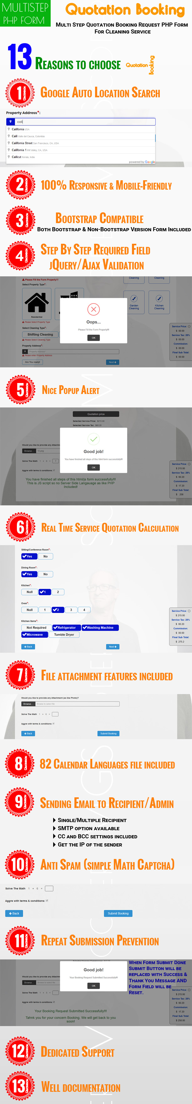 quotation booking multi step quotation booking request php form